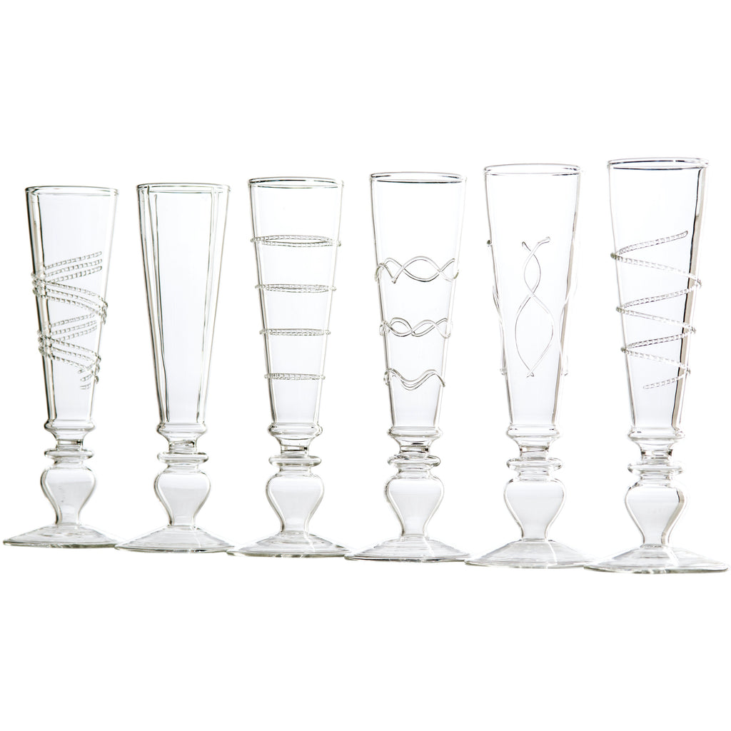 Footed Razzle Dazzle Champagne Flutes, Set of 6