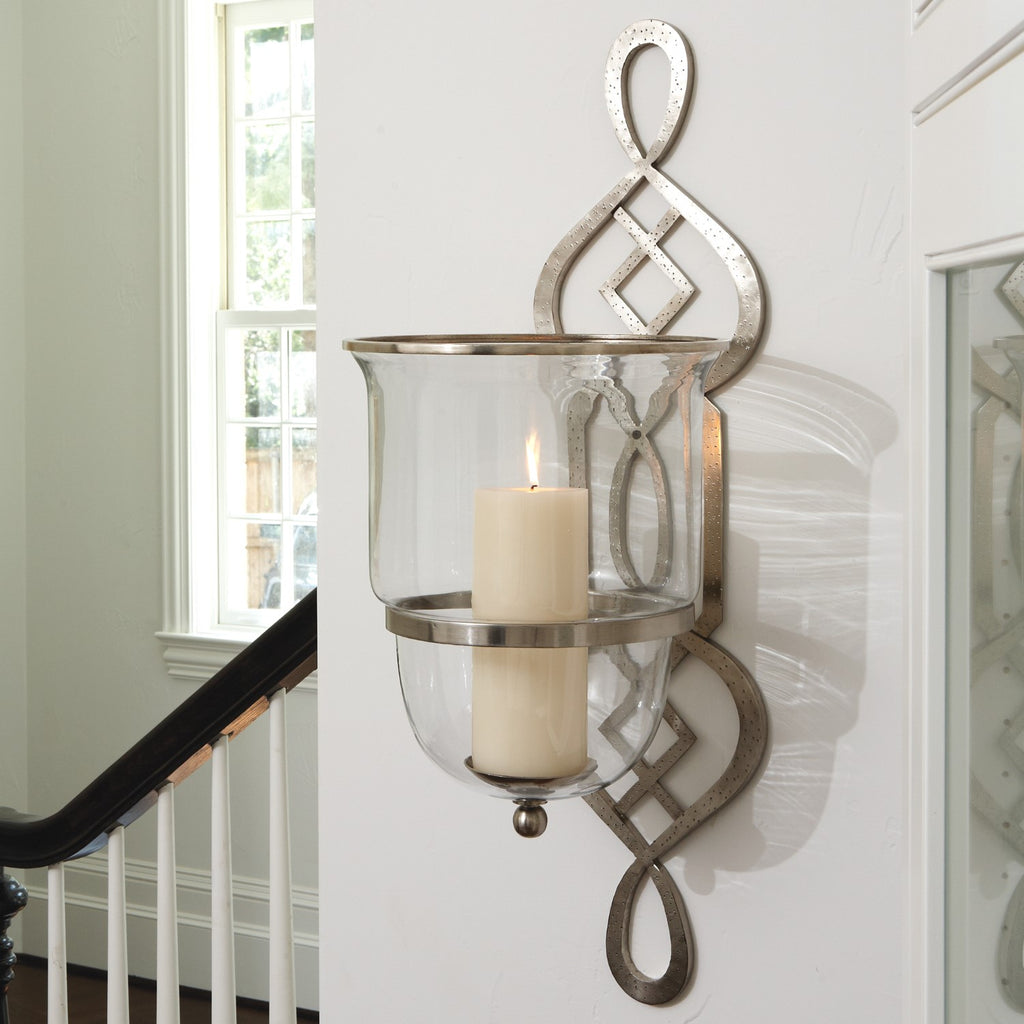 Grand Fret Hurricane Sconce Candle Holder