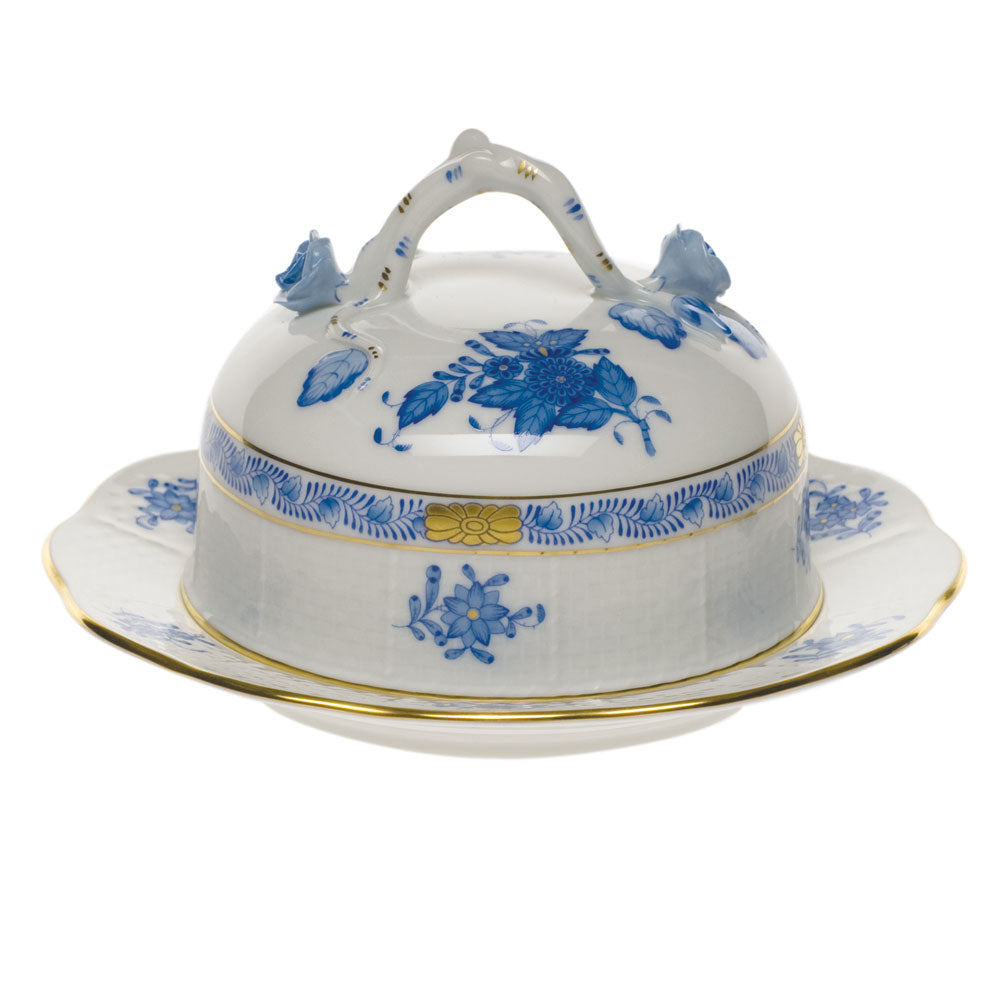 Herend Chinese Bouquet Cov Butter Dish Blue