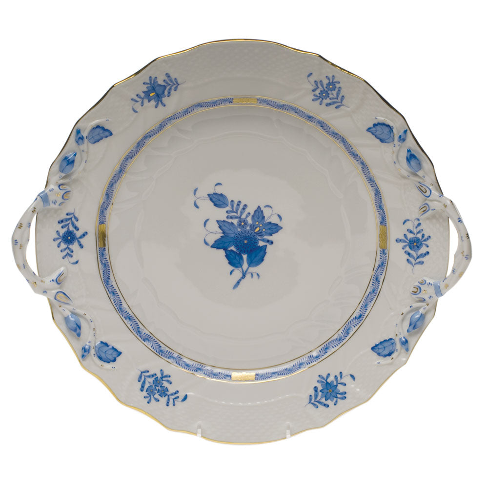 Herend Chinese Bouquet Chop Plate W/handles Blue