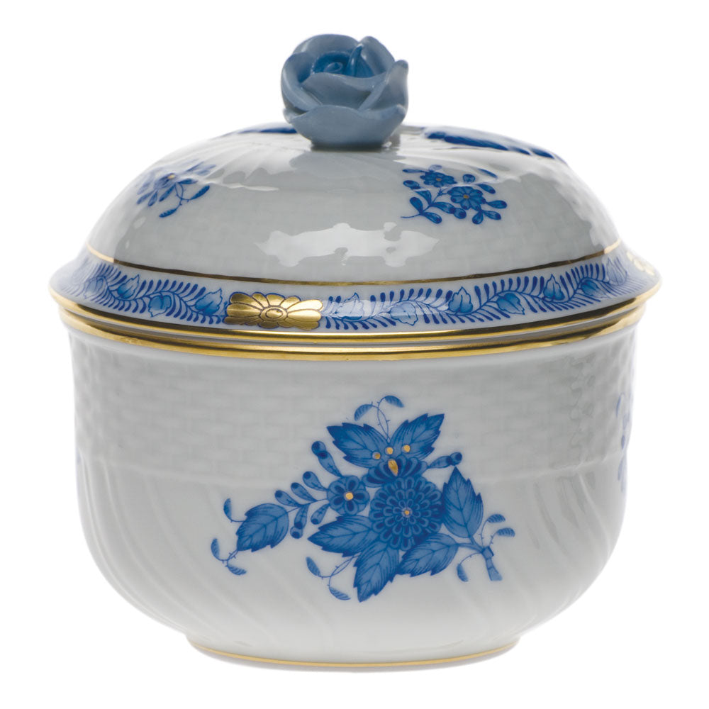Herend Chinese Bouquet Cov Sugar W/rose Blue