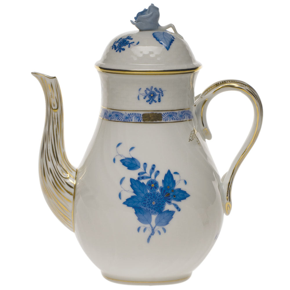 Herend Chinese Bouquet Coffee Pot W/rose Blue