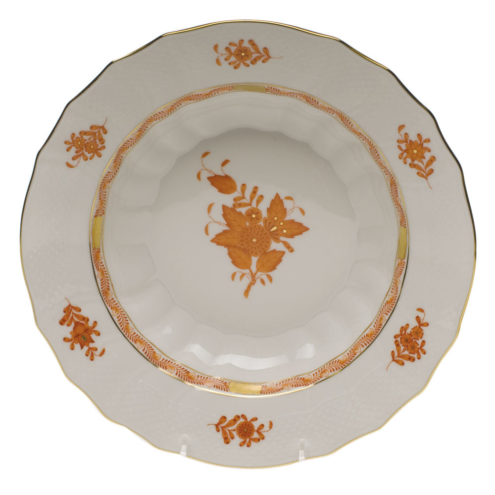 Herend Chinese Bouquet Rust Rim Soup