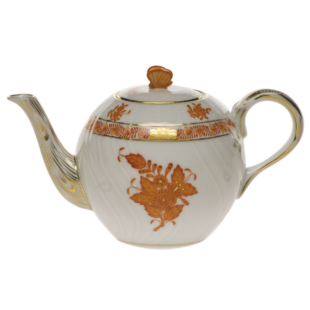 Herend Chinese Bouquet Rust 12oz. Tea Pot With Butterfly