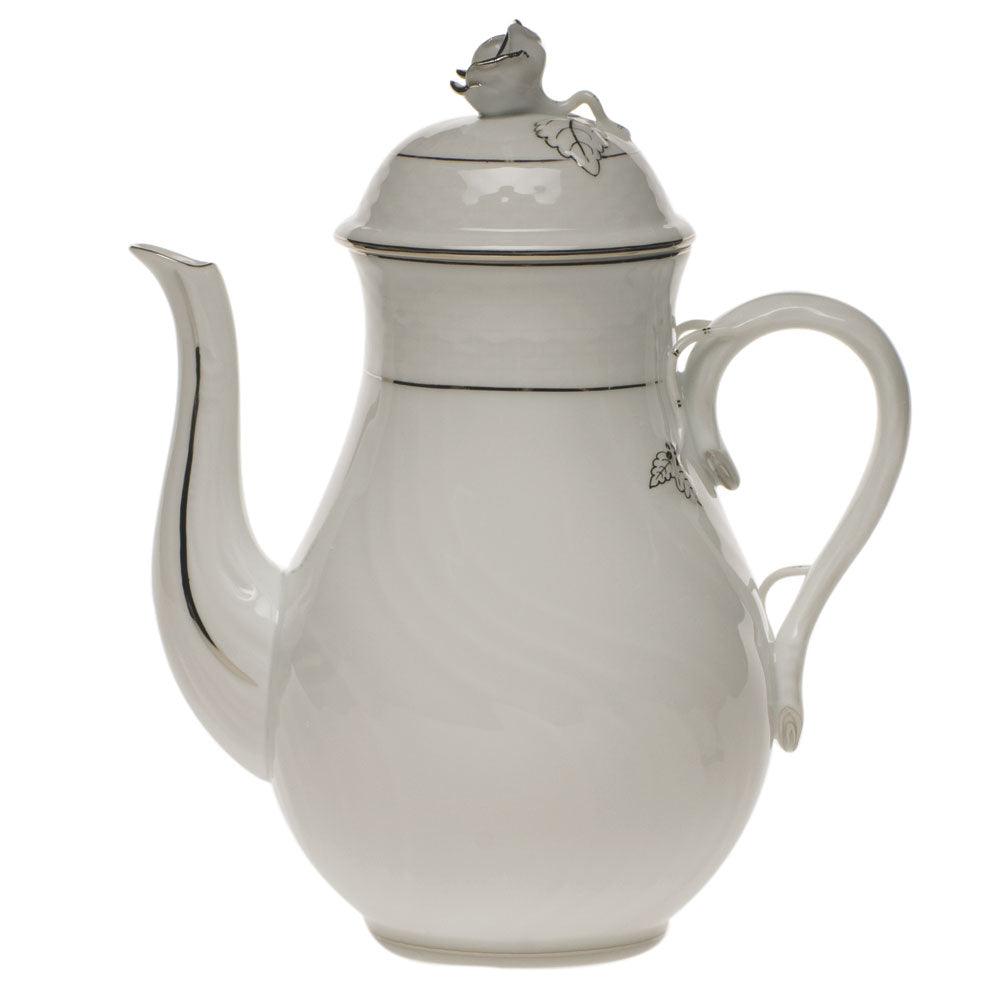 Herend Platinum Edge Coffee Pot With Rose