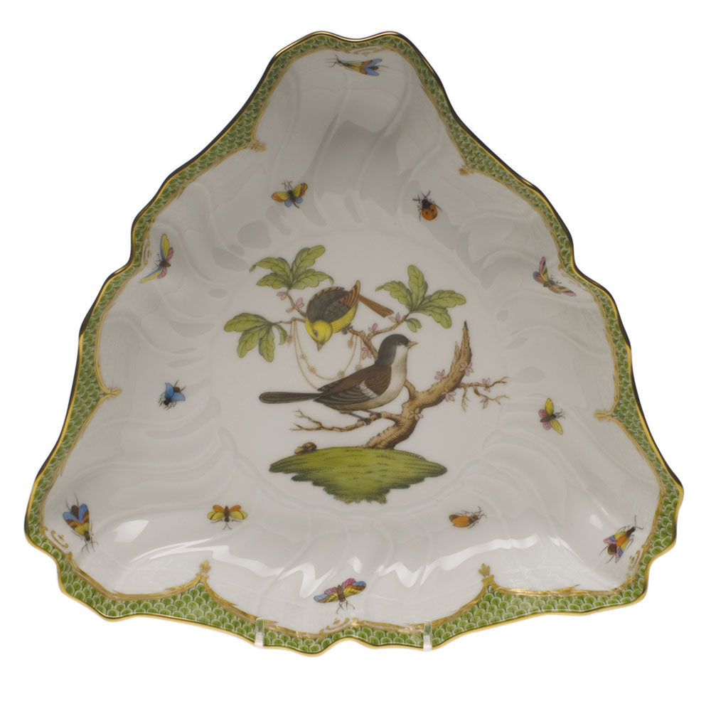 Herend Rothschild Bird Green Border Triangle Dish