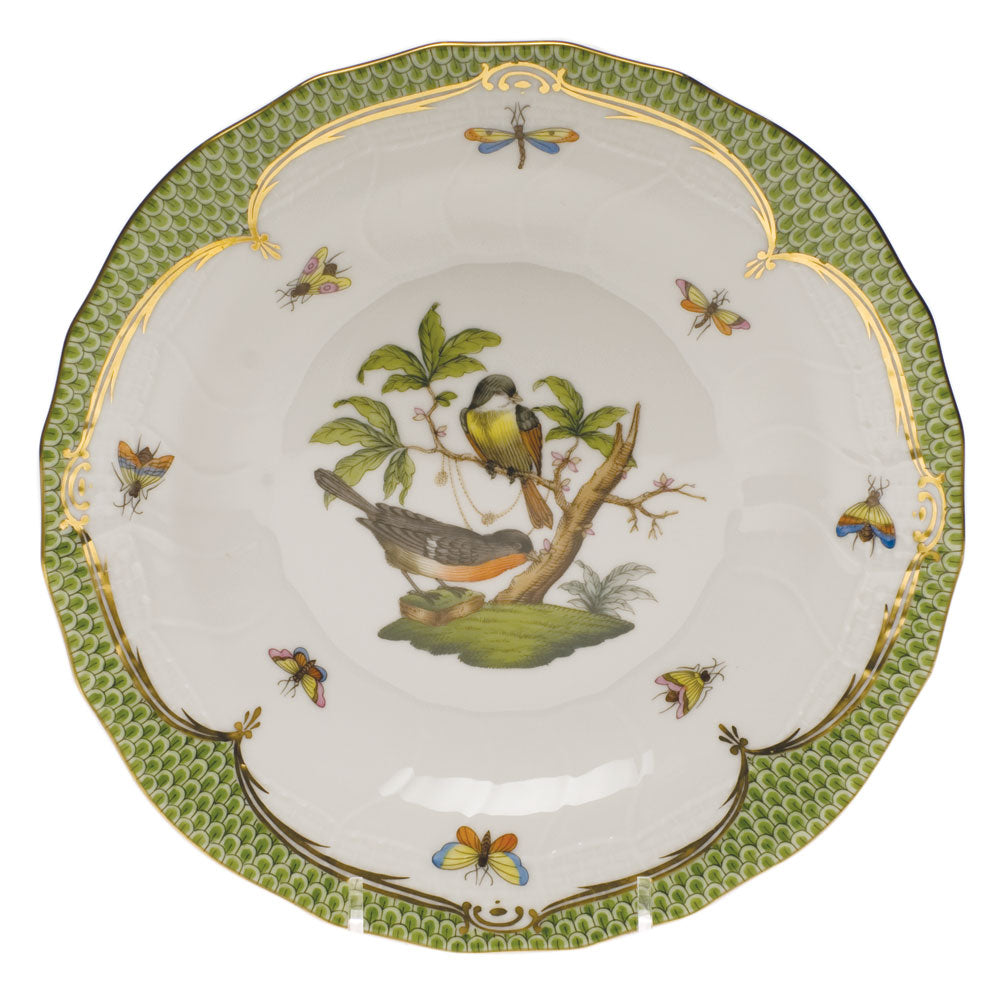 Herend Rothschild Bird Green Dessert Plate Motif #2