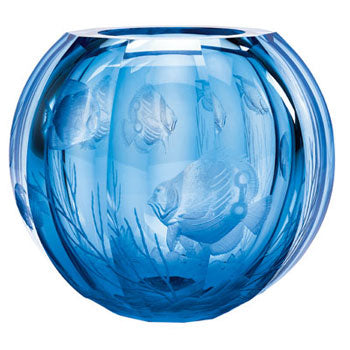 Moser The Globe Vase-Aquamarine