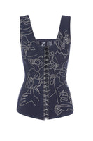 Crystal-embellished  corset  with FROLOV x Masha Reva pattern