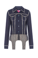 Crystal-embellished wool jacket with handmade embroidery and straps