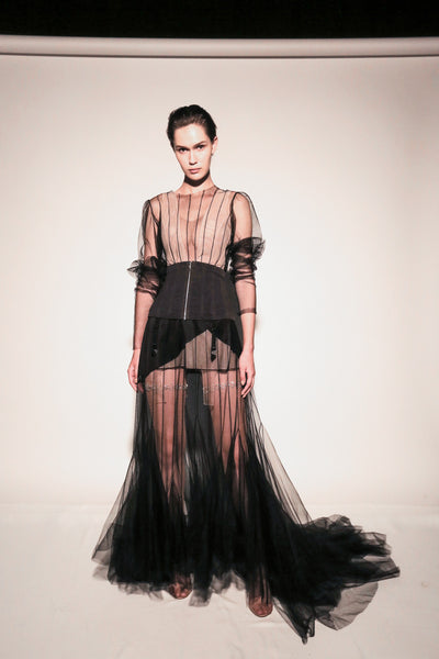 Floor-length net dress