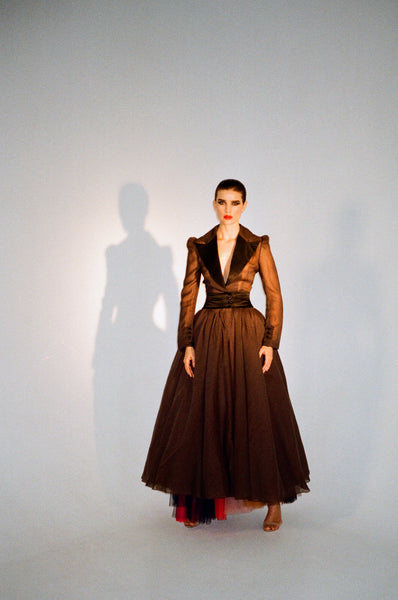 Semitransparent floor-length net dress