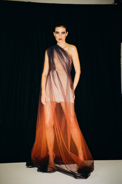 Transparent net dress with Cuba sunset print with corset dress