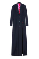 Wool dress-coat with deep cuts with silk lining