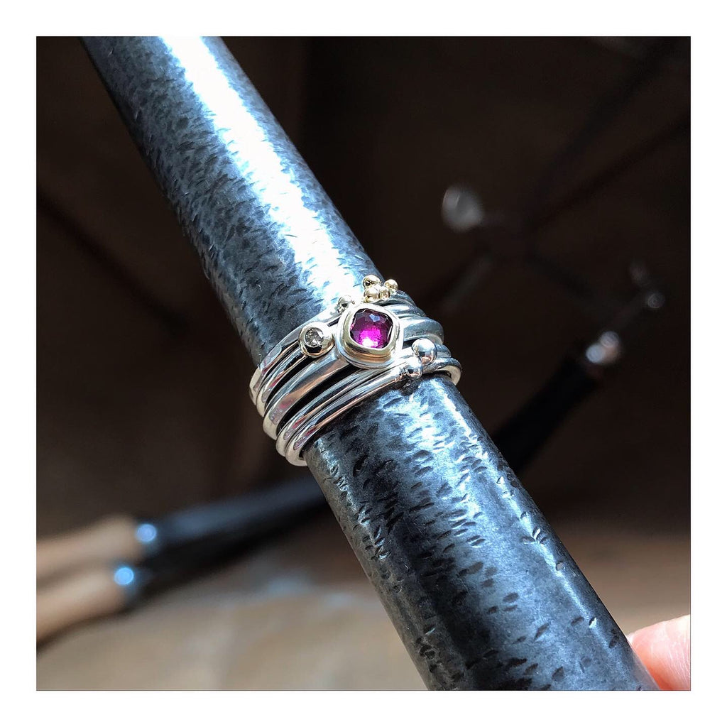 Cushion cut Rhodolite Garnet stacking ring