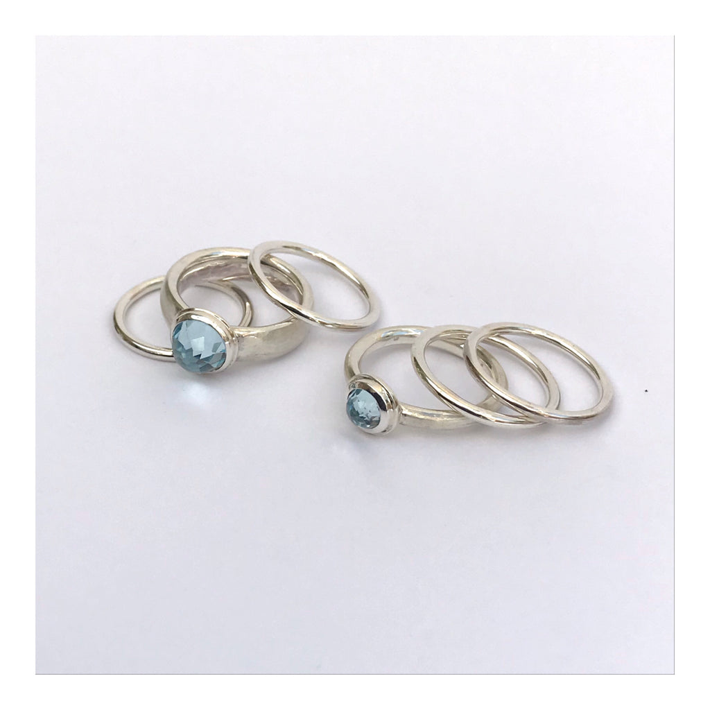 Sky blue Topaz stacking rings