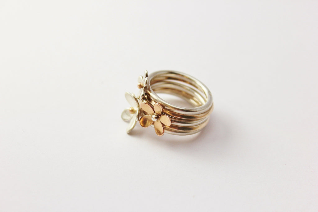 'Wildflower' stacking rings set of 5