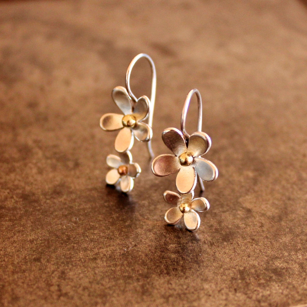 'Wildflower' double daisy drop earrings