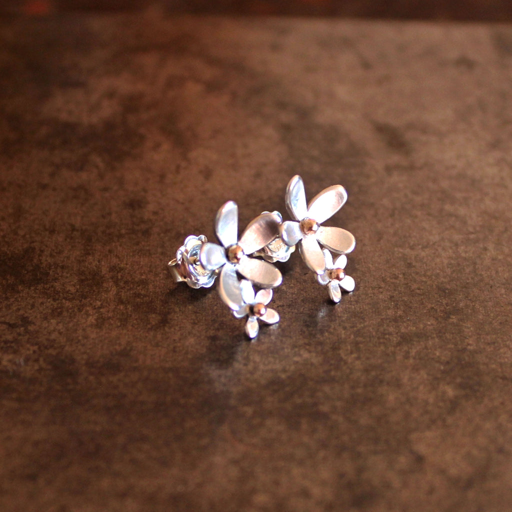 'daisy chain' double daisy earrings stud