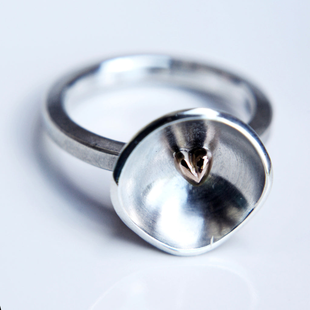 'beloved' my heart cup ring