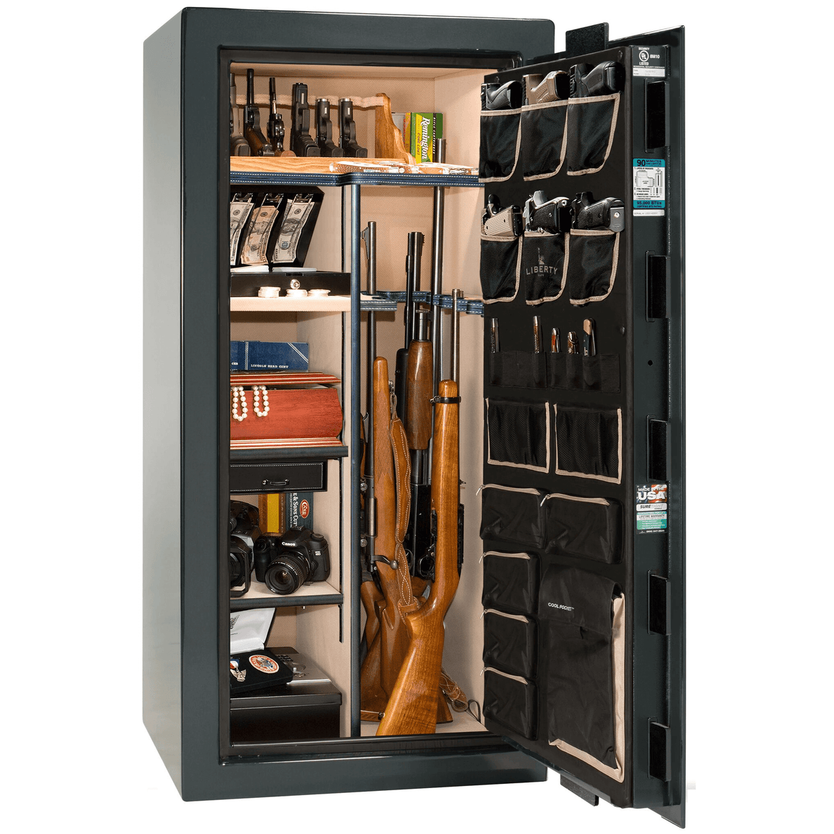 "Classic Select | 25 | Level 6 Security | 90 Minute Fire Protection | Green Gloss | Black Mechanical Lock | 60.5""(H) x 30""(W) x 28.5""(D)"
