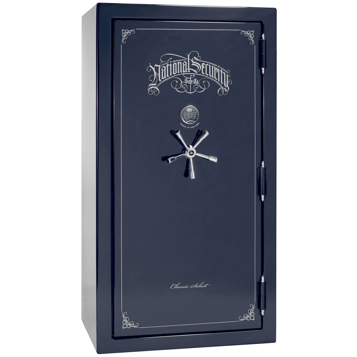 "Classic Select | 40 | Level 6 Security | 90 Minute Fire Protection | Blue Gloss | Chrome Electronic Lock | 66.5""(H) x 36""(W) x 32""(D)"