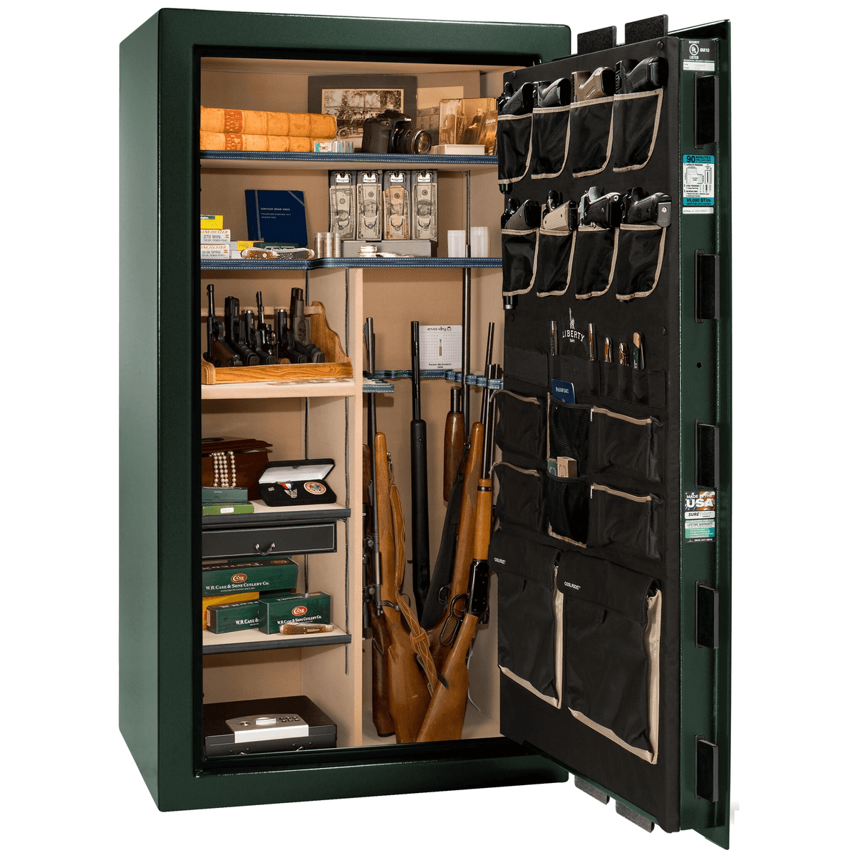 "Classic Select | 40 | Level 6 Security | 90 Minute Fire Protection | Green | Brass Mechanical Lock | 66.5""(H) x 36""(W) x 32""(D)"