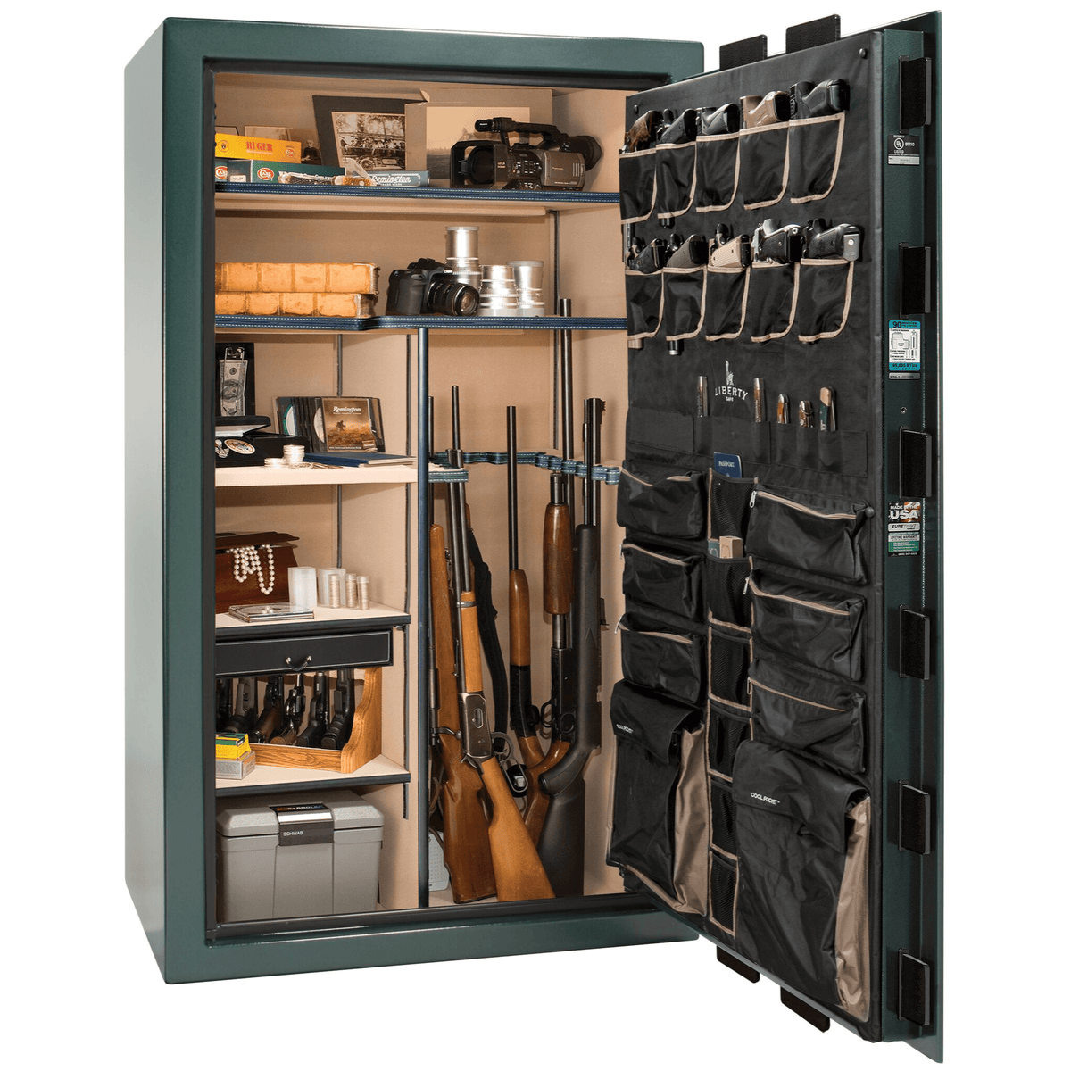 "Classic Select | 50 | Level 6 Security | 90 Minute Fire Protection | Green | Brass Mechanical Lock | 72.5""(H) x 42""(W) x 32""(D)"