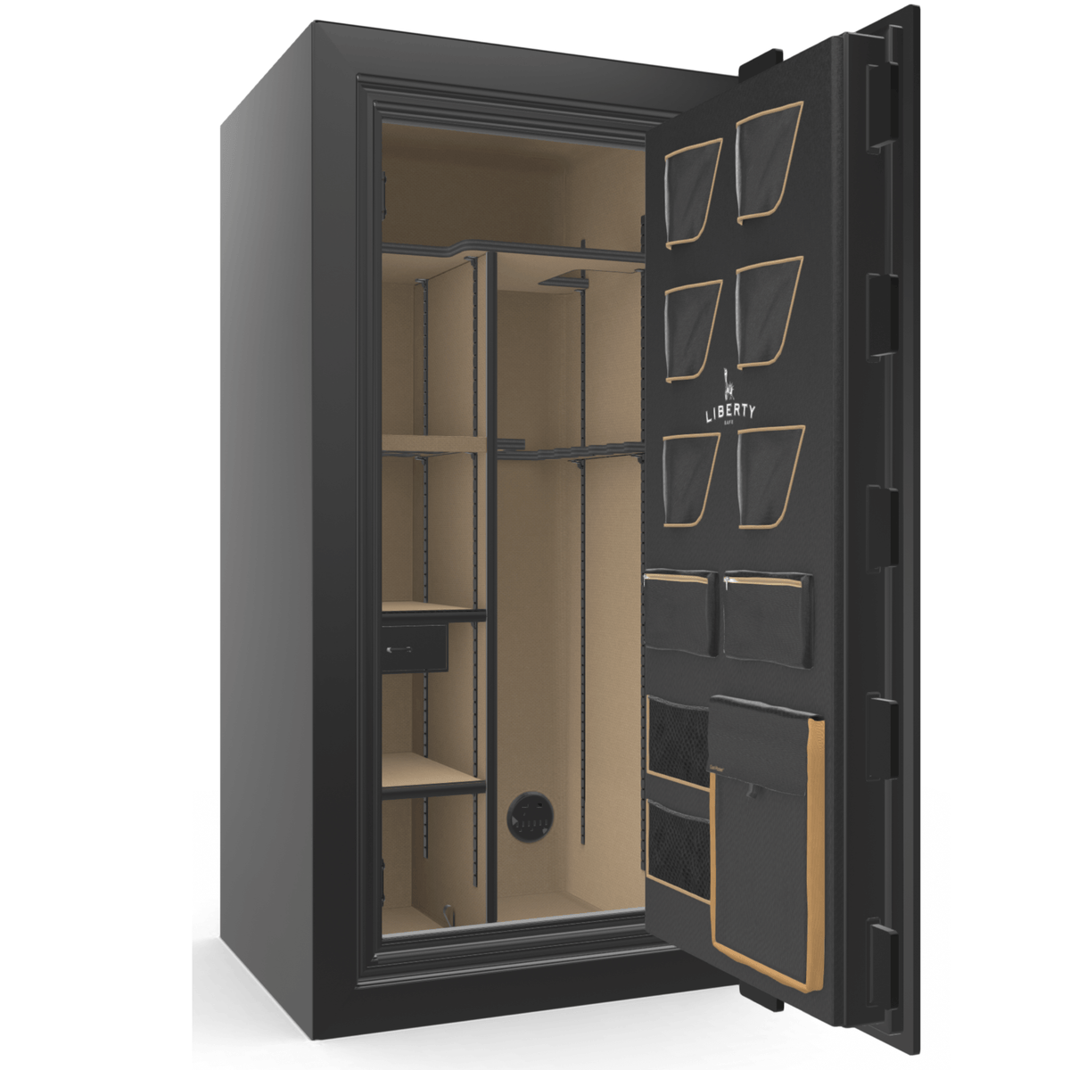 "Classic Plus | 25 | Level 7 Security | 110 Minute Fire Protection | Black Gloss | Brass Electronic Lock | 60.5""(H) x 30""(W) x 29""(D)"