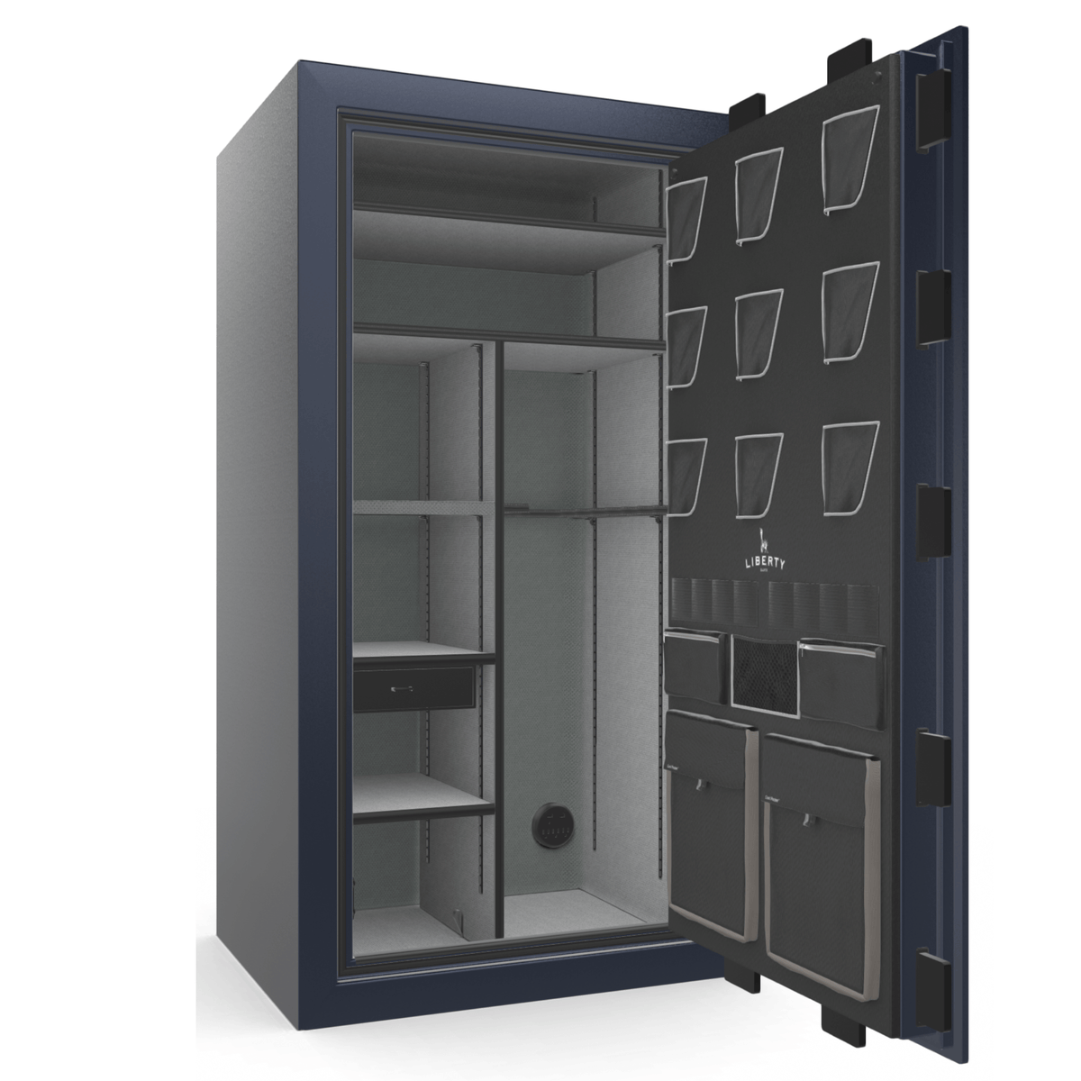 "Classic Plus | 40 | Level 7 Security | 110 Minute Fire Protection | Blue Gloss | Chrome Mechanical Lock | 65.5""(H) x 36""(W) x 32""(D)"