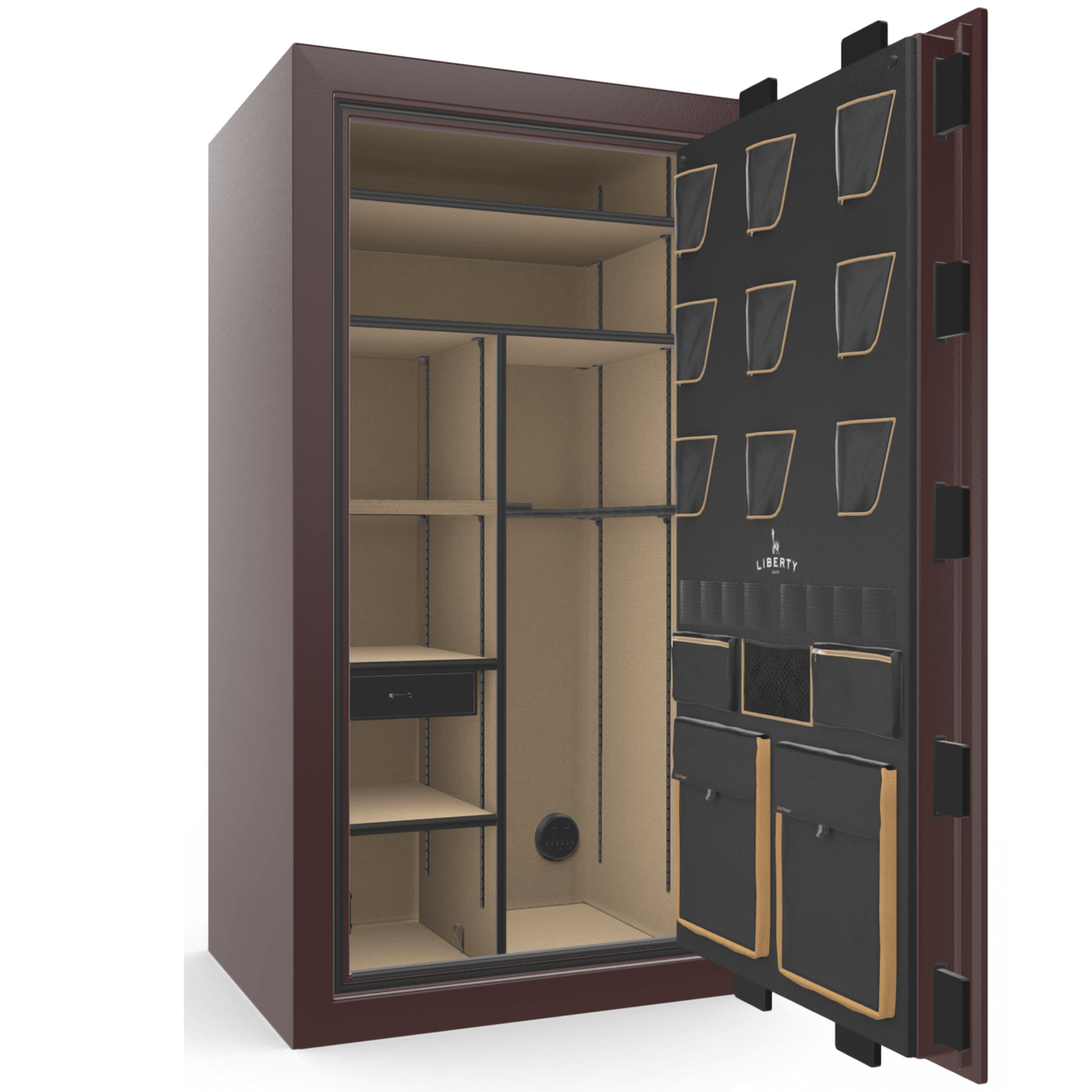 "Classic Plus | 40 | Level 7 Security | 110 Minute Fire Protection | Burgundy | Black Electronic Lock | 65.5""(H) x 36""(W) x 32""(D)"