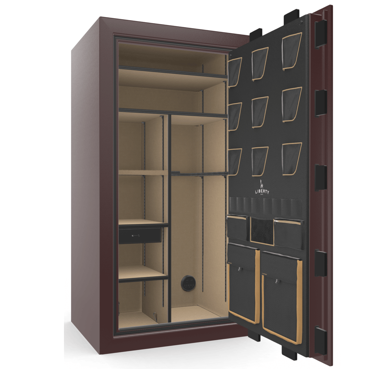 "Classic Plus | 40 | Level 7 Security | 110 Minute Fire Protection | Burgundy | Brass Mechanical Lock | 65.5""(H) x 36""(W) x 32""(D)"