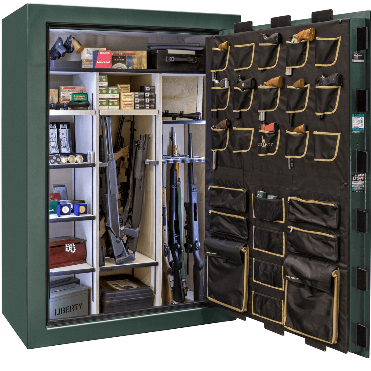 "Classic Select Extreme | 60 | Level 6 Security | 90 Minute Fire Protection | Green | Brass Mechanical Lock | 72.5""(H) x 50""(W) x 32""(D)"