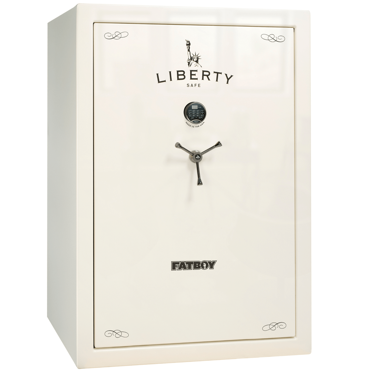 "Fatboy | 64 | Level 4 Security | 75 Minute Fire Protection | White Gloss | Chrome Electronic Lock | 60.5""(H) x 42""(W) x 32""(D)"