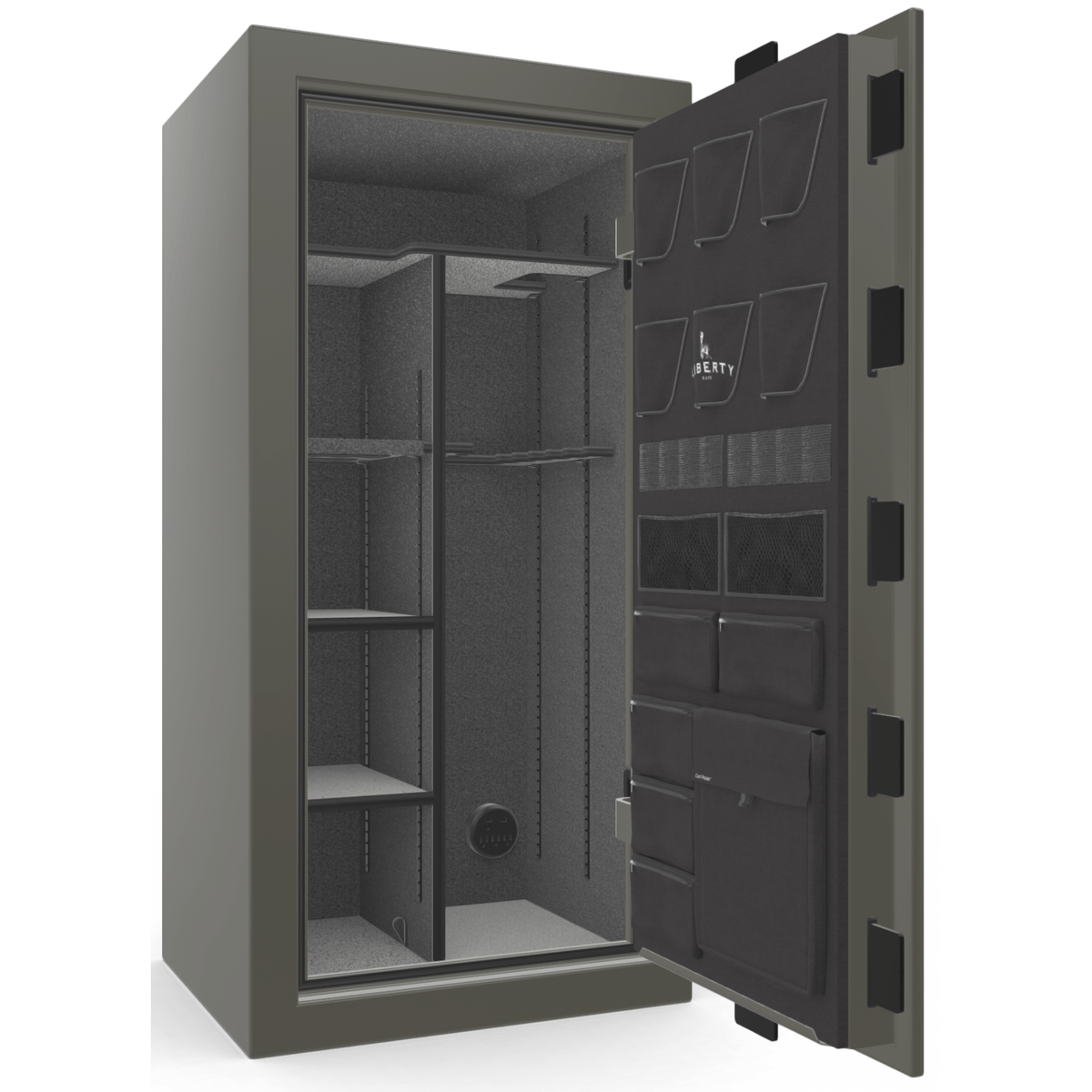 "Franklin | 25 | Level 4 Security | 75 Minute Fire Protection | Gray Gloss | Black Electronic Lock | 60.5""(H) x 30""(W) x 28.5""(D)"