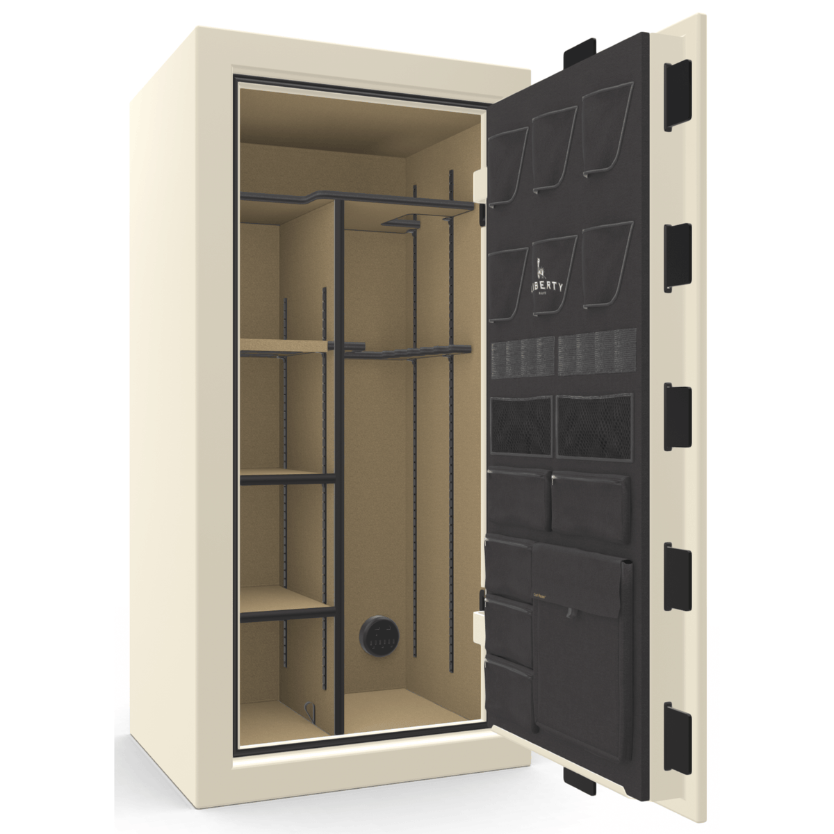 "Franklin | 25 | Level 4 Security | 75 Minute Fire Protection | White Gloss | Black Electronic Lock | 60.5""(H) x 30""(W) x 28.5""(D)"
