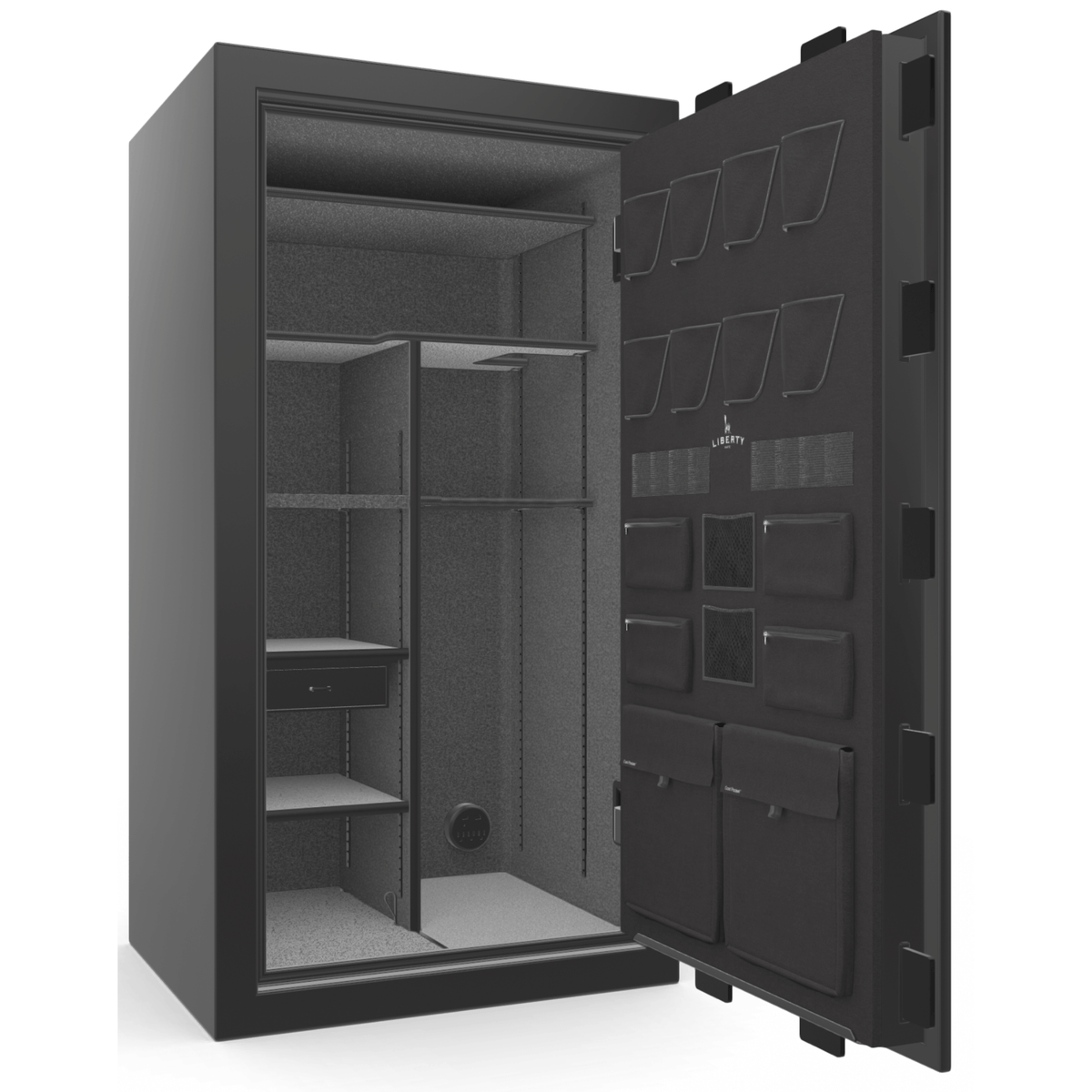 "Franklin | 40 | Level 4 Security | 75 Minute Fire Protection | Black Gloss | Chrome Mechanical Lock | 66.5""(H) x 36""(W) x 32""(D)"