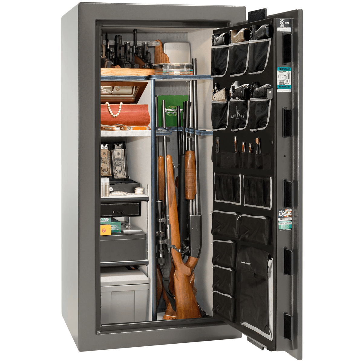 "Lincoln | 25 | Level 5 Security | 90 Minute Fire Protection | Gray Gloss | Black Electronic Lock | 60.5""(H) x 30""(W) x 28.5""(D)"