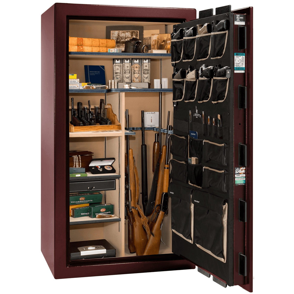 "Lincoln | 40 | Level 5 Security | 90 Minute Fire Protection | Burgundy  | Brass Mechanical Lock | 66.5""(H) x 36""(W) x 32""(D)"