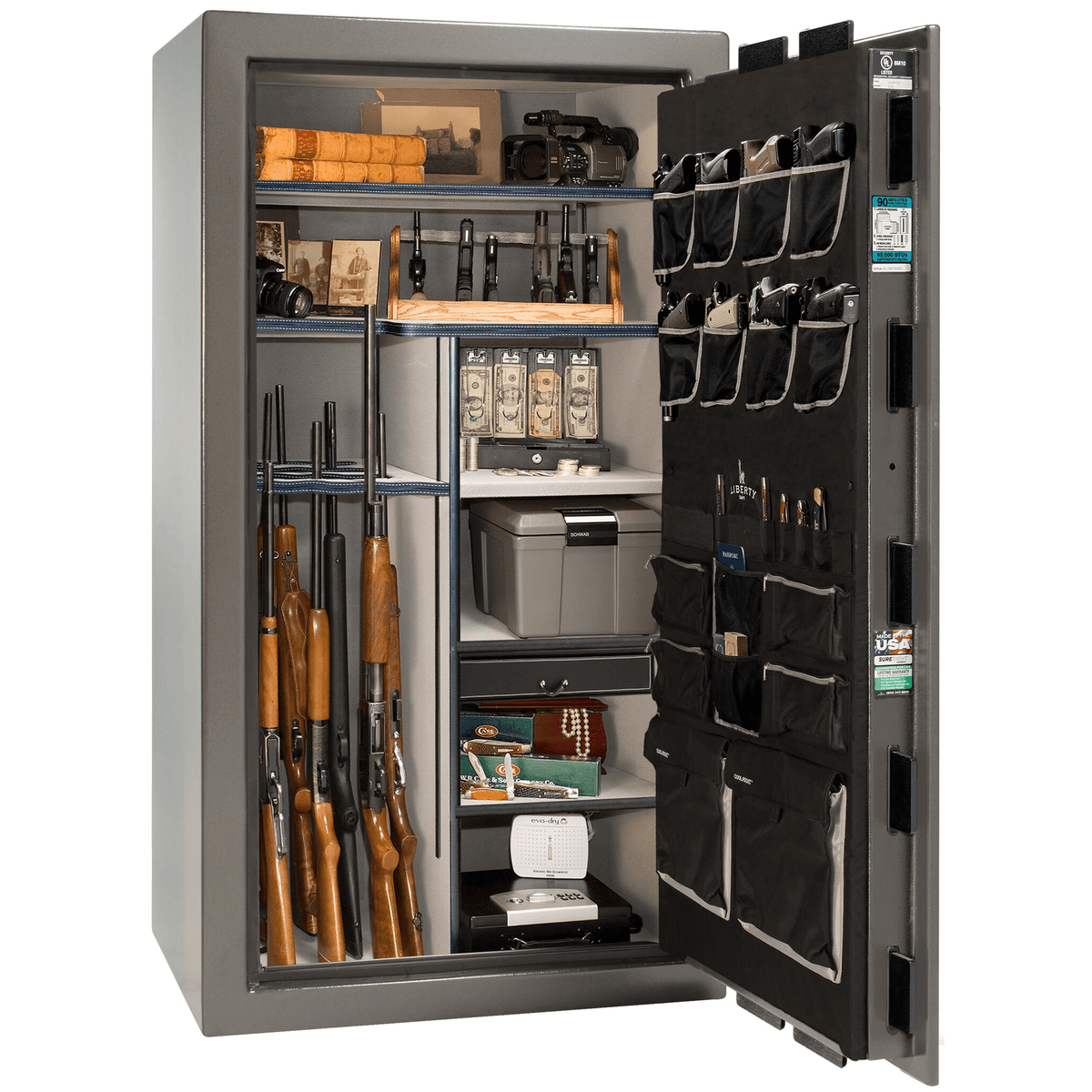 "Lincoln | 40 | Level 5 Security | 90 Minute Fire Protection | Gray | Black Mechanical Lock | 66.5""(H) x 36""(W) x 32""(D)"
