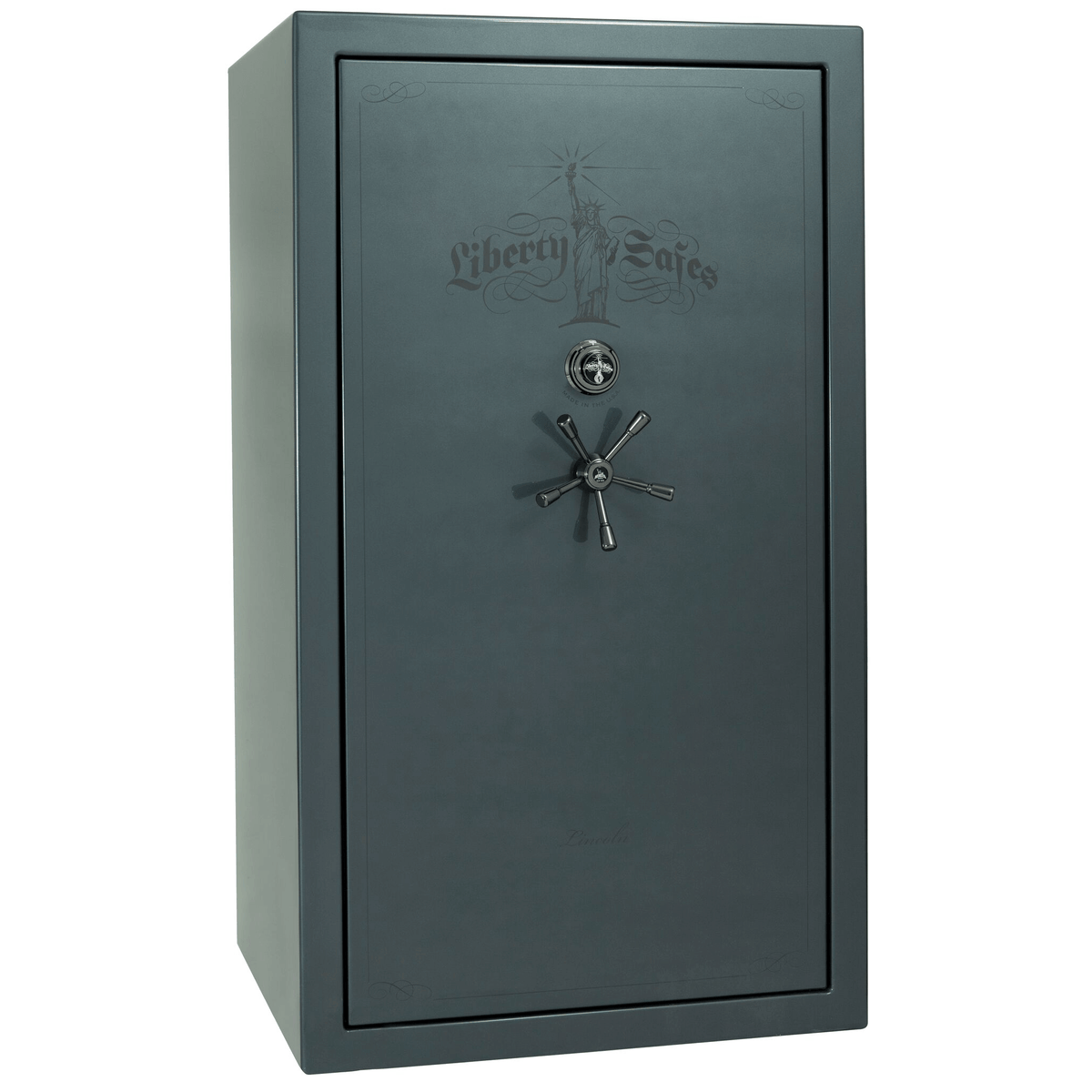 "Lincoln | 50 | Level 5 Security | 90 Minute Fire Protection | Forest Mist Gloss | Black Mechanical Lock | 72.5""(H) x 42""(W) x 32""(D)"