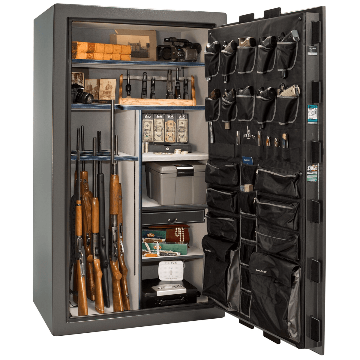 "Lincoln | 50 | Level 5 Security | 90 Minute Fire Protection | Gray | Black Electronic Lock | 72.5""(H) x 42""(W) x 32""(D)"