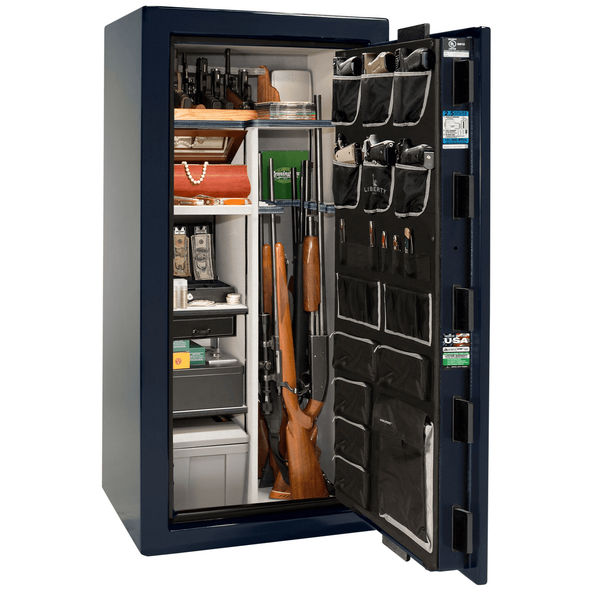 "Magnum | 25 | Level 8 Security | 150 Minute Fire Protection | Blue Gloss | Chrome Electronic Lock | 60.5""(H) x 30""(W) x 29""(D)"