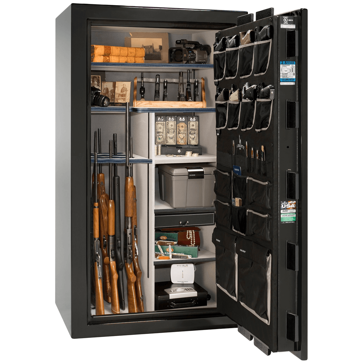"Magnum | 40 | Level 8 Security | 150 Minute Fire Protection | Black Gloss | Chrome Electronic Lock | 65.5""(H) x 36""(W) x 32""(D)"