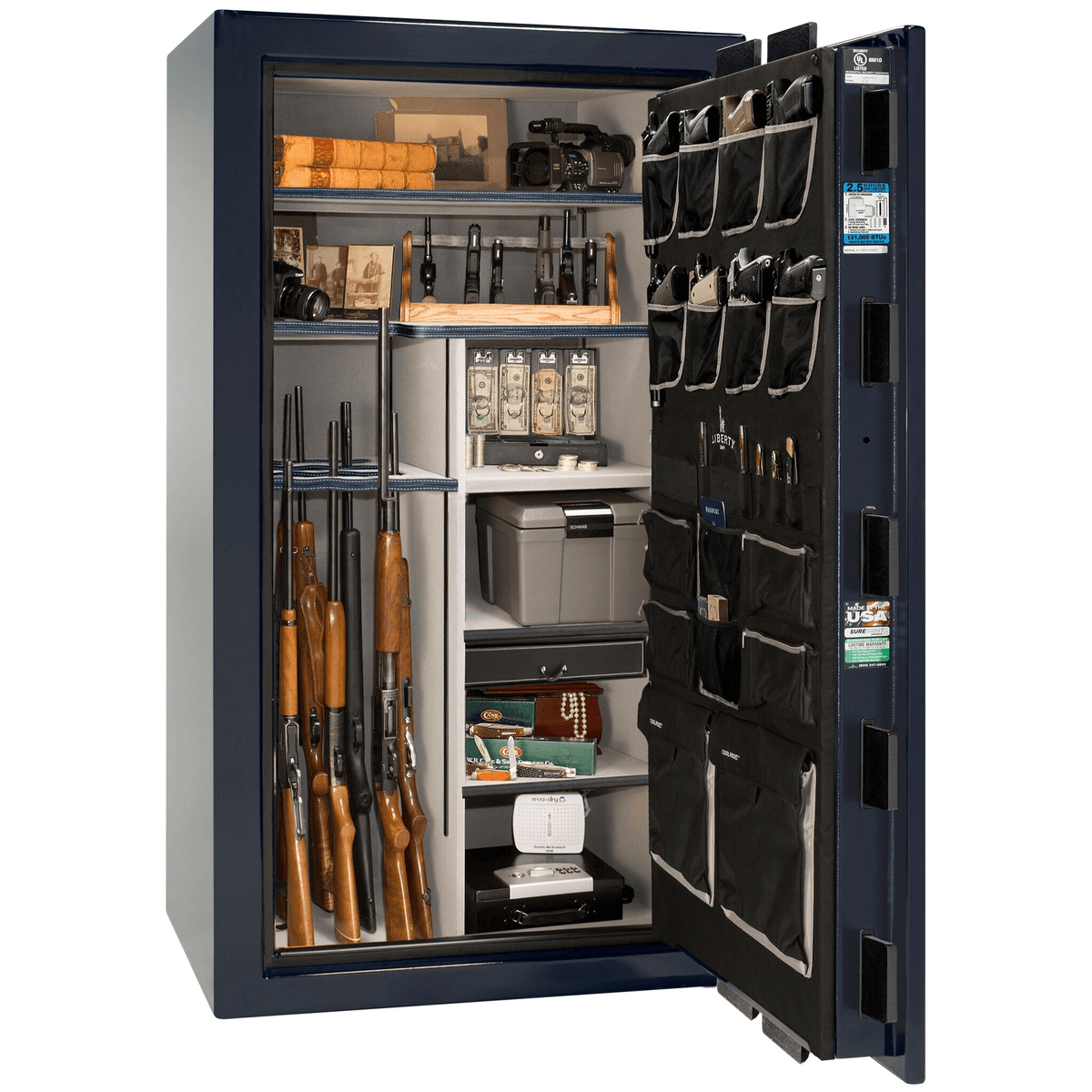 "Magnum | 40 | Level 8 Security | 150 Minute Fire Protection | Blue Gloss | Chrome Electronic Lock | 65.5""(H) x 36""(W) x 32""(D)"