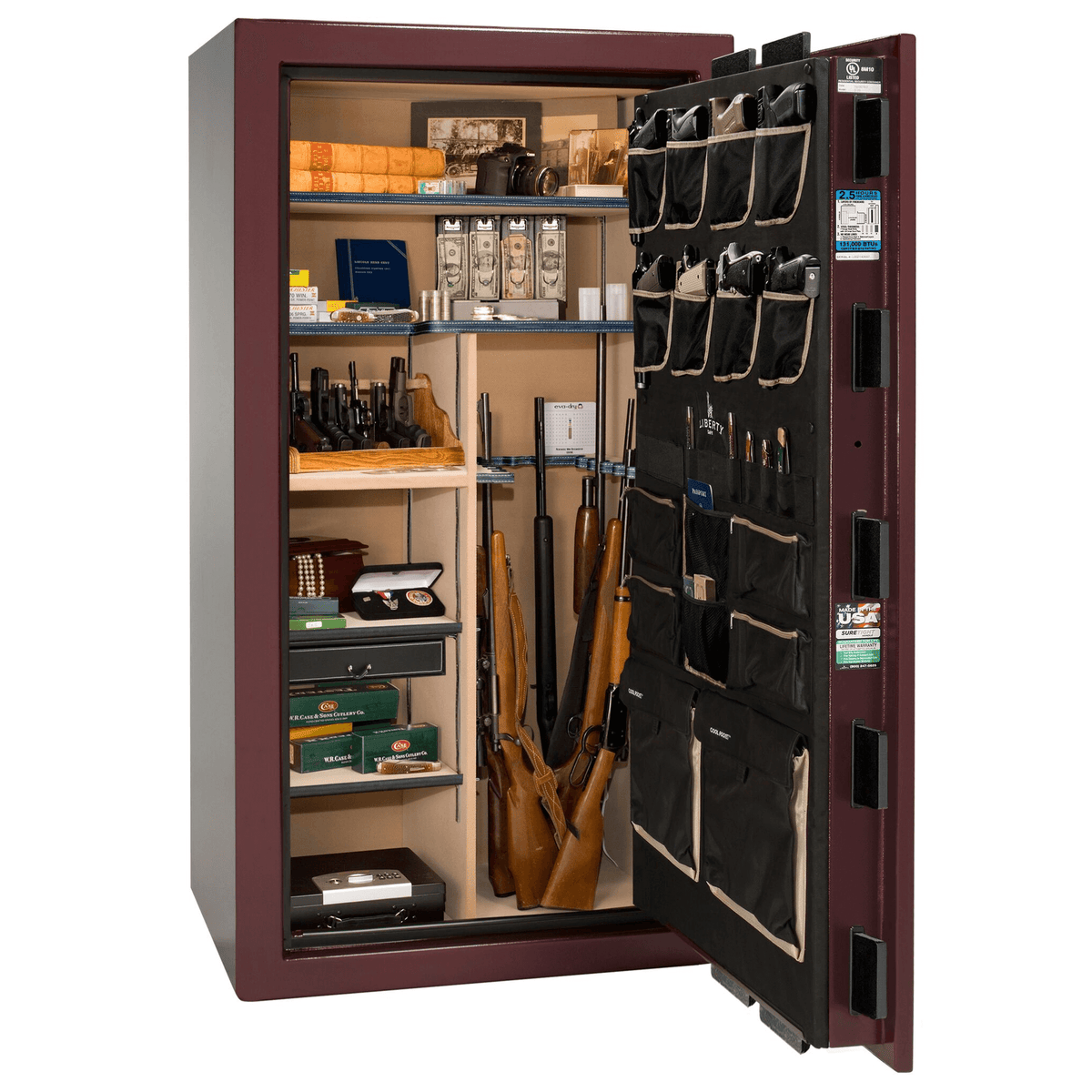 "Magnum | 40 | Level 8 Security | 150 Minute Fire Protection | Burgundy  | Brass Electronic Lock | 65.5""(H) x 36""(W) x 32""(D)"