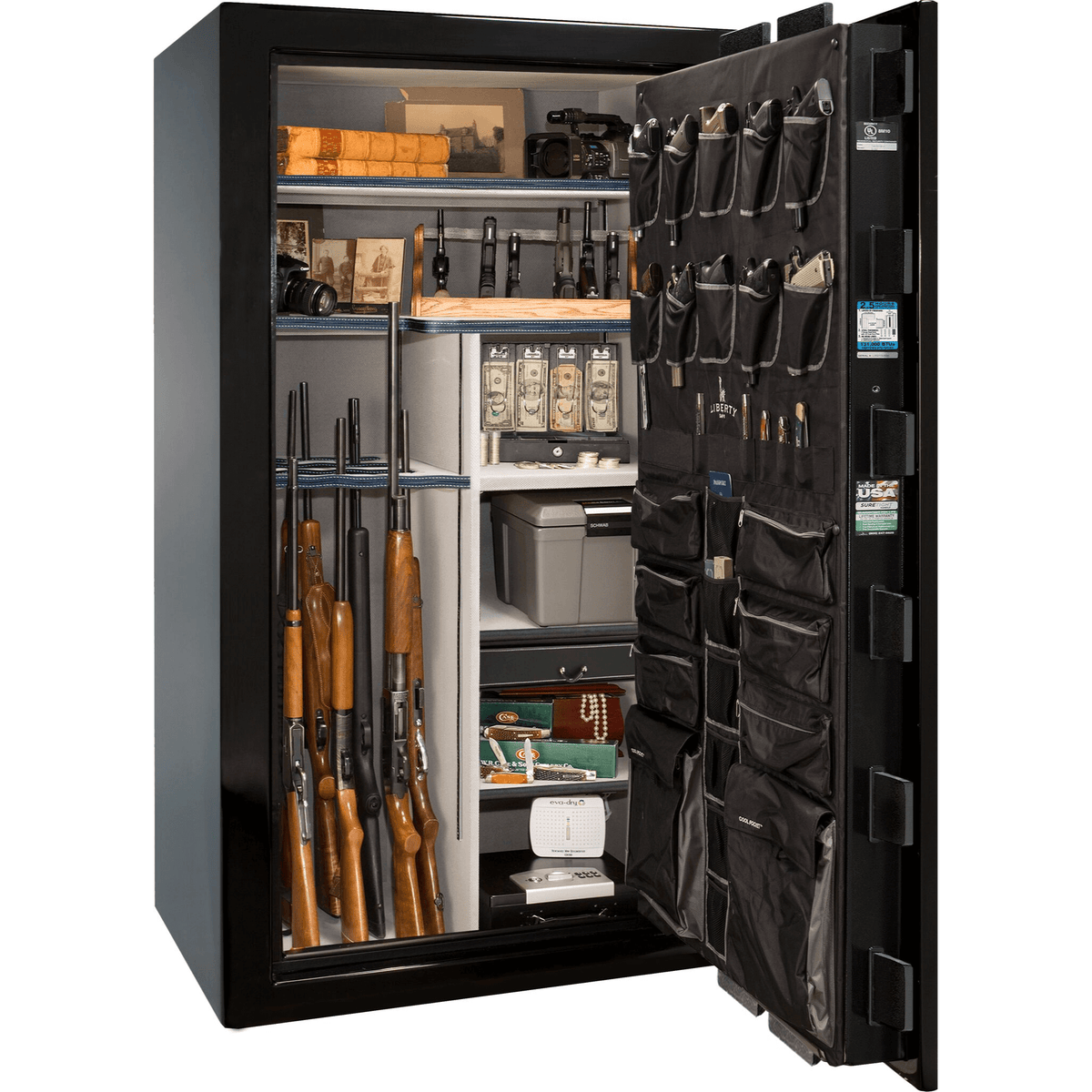 "Magnum | 50 | Level 8 Security | 150 Minute Fire Protection | Black Gloss | Chrome Mechanical Lock | 72.5""(H) x 42""(W) x 32""(D)"