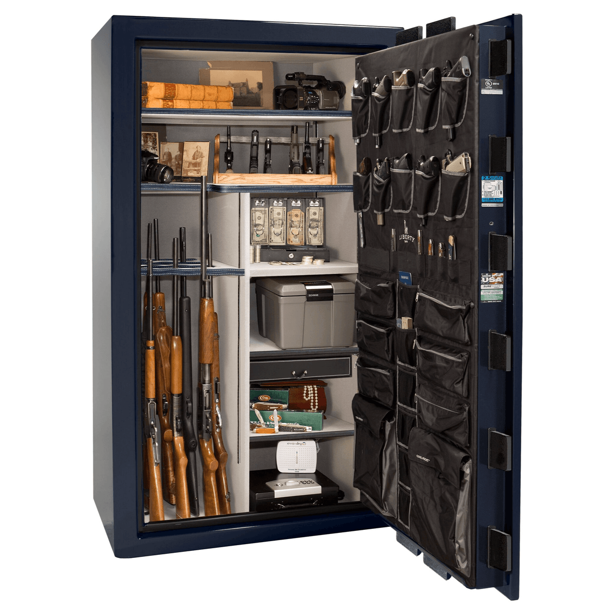 "Magnum | 50 | Level 8 Security | 150 Minute Fire Protection | Blue Gloss | Chrome Electronic Lock | 72.5""(H) x 42""(W) x 32""(D)"