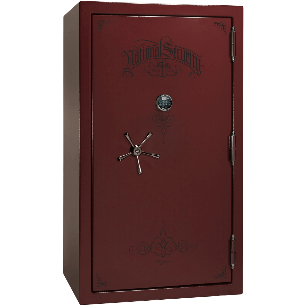 "Magnum | 50 | Level 8 Security | 150 Minute Fire Protection | Burgundy  | Black Electronic Lock | 72.5""(H) x 42""(W) x 32""(D)"