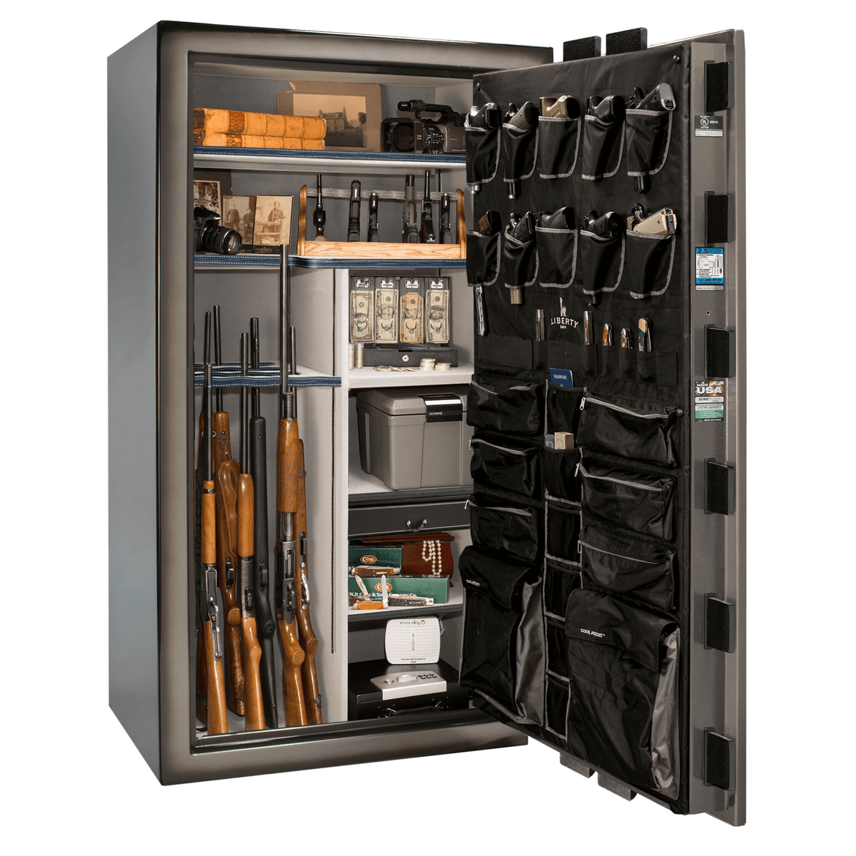 "Magnum | 50 | Level 8 Security | 150 Minute Fire Protection | Gray 2-Tone | Black Electronic Lock | 72.5""(H) x 42""(W) x 32""(D)"